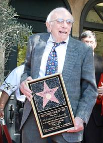 Sherwood Schwartz, creator of Gilligan's Island, receiving a star on the Hollywood Walk of Fame, 2008.