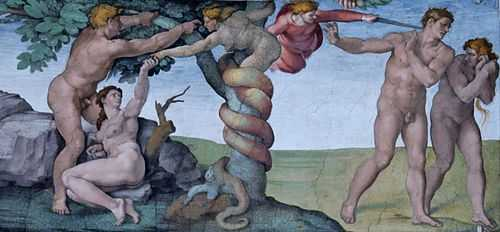 Michelangelo's depiction in the Sistene Chapel of Adam and Eve giving in to tempation and being exiled.